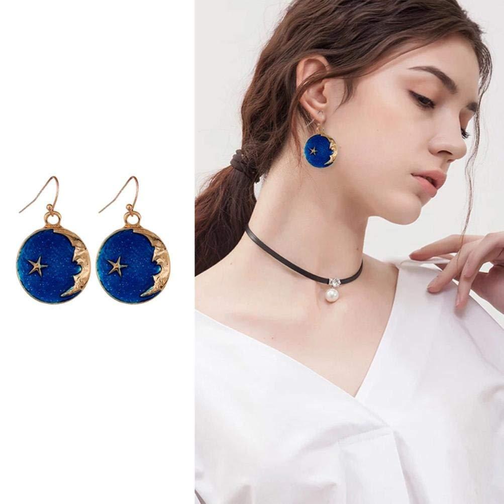 Gyoume 1 Pair Women Dangle Earring Elegant Blue Star Moon Earrings Jewelry Gift for Women