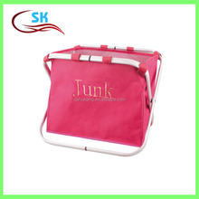 Pink Color Laundry Basket With Alumium Frame foldable Dirty Clothes laundry hamper unique embroidery logo