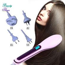 2016 New Brush Auto Hair Straightener Comb Irons Come With LCD Display Electric Straight Hair Comb Straightening