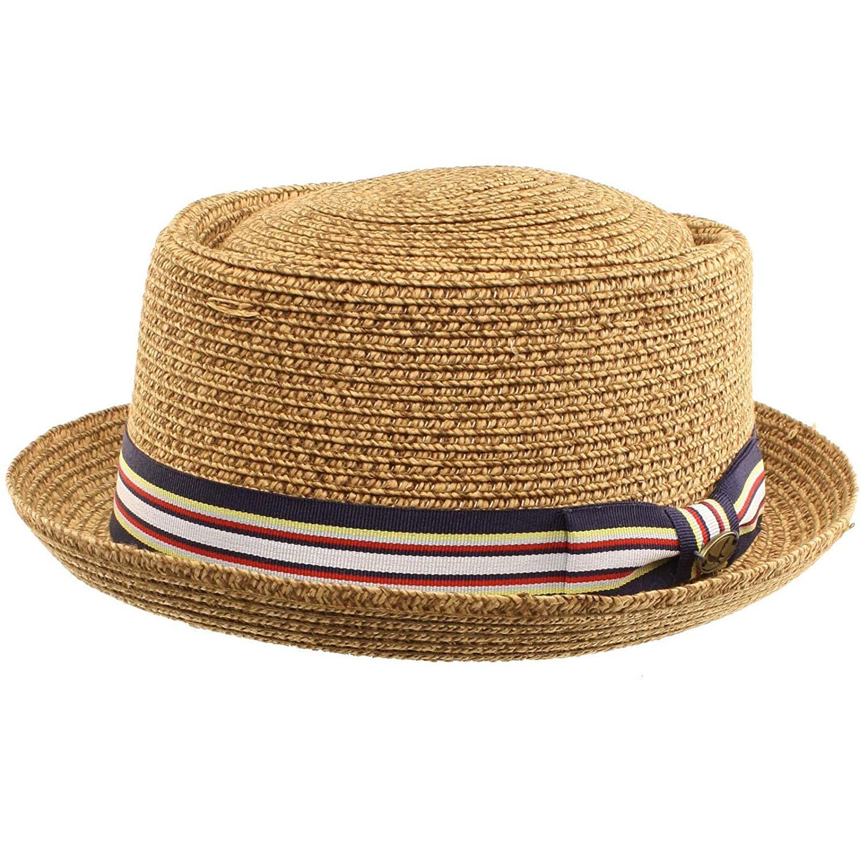 7d3e6ad9441 Get Quotations · SK Hat shop Men s Fancy Summer Straw Pork Pie Derby Fedora  Upturn Brim Hat