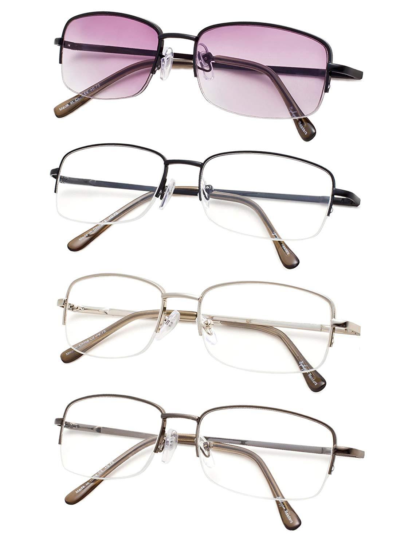 Spring Hinges Half-rim Reading Glasses 4-pack