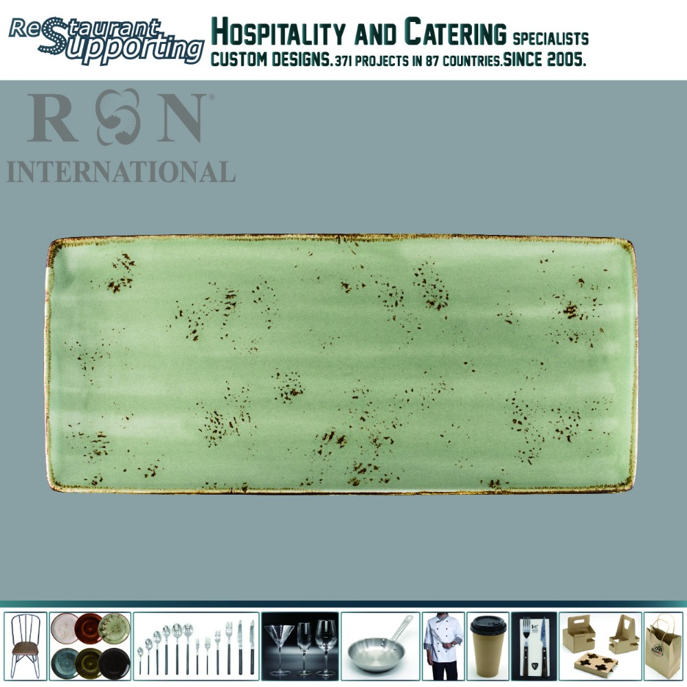 Hand made Japanese restaurant style retro ceramic flat sushi plate for sale