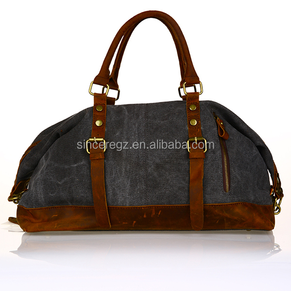 Klassische durable weinlese-militär Canvas Leder männer reisen duffle bag weekend bag 15SC-3675M