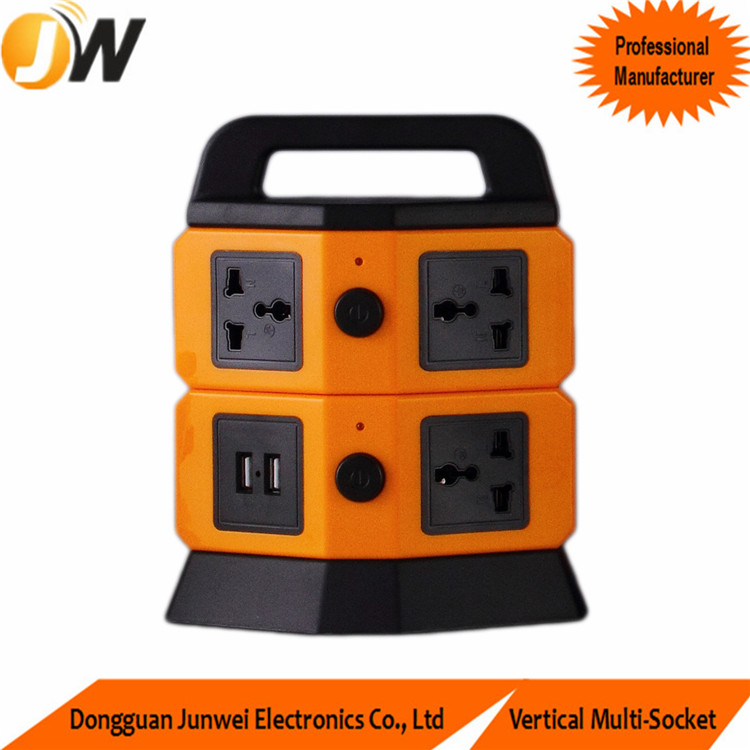 10A 6 Ways Electrical Multi Socket Plug with Surge Protection and 2m Wire