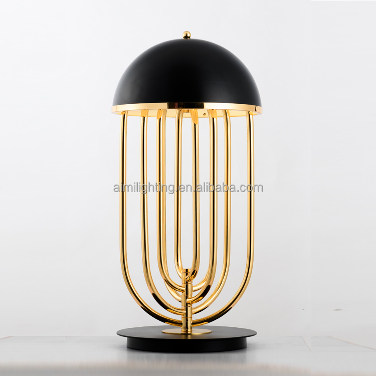 USA style black white metal luxury modern table lamps base with G9 for bedside