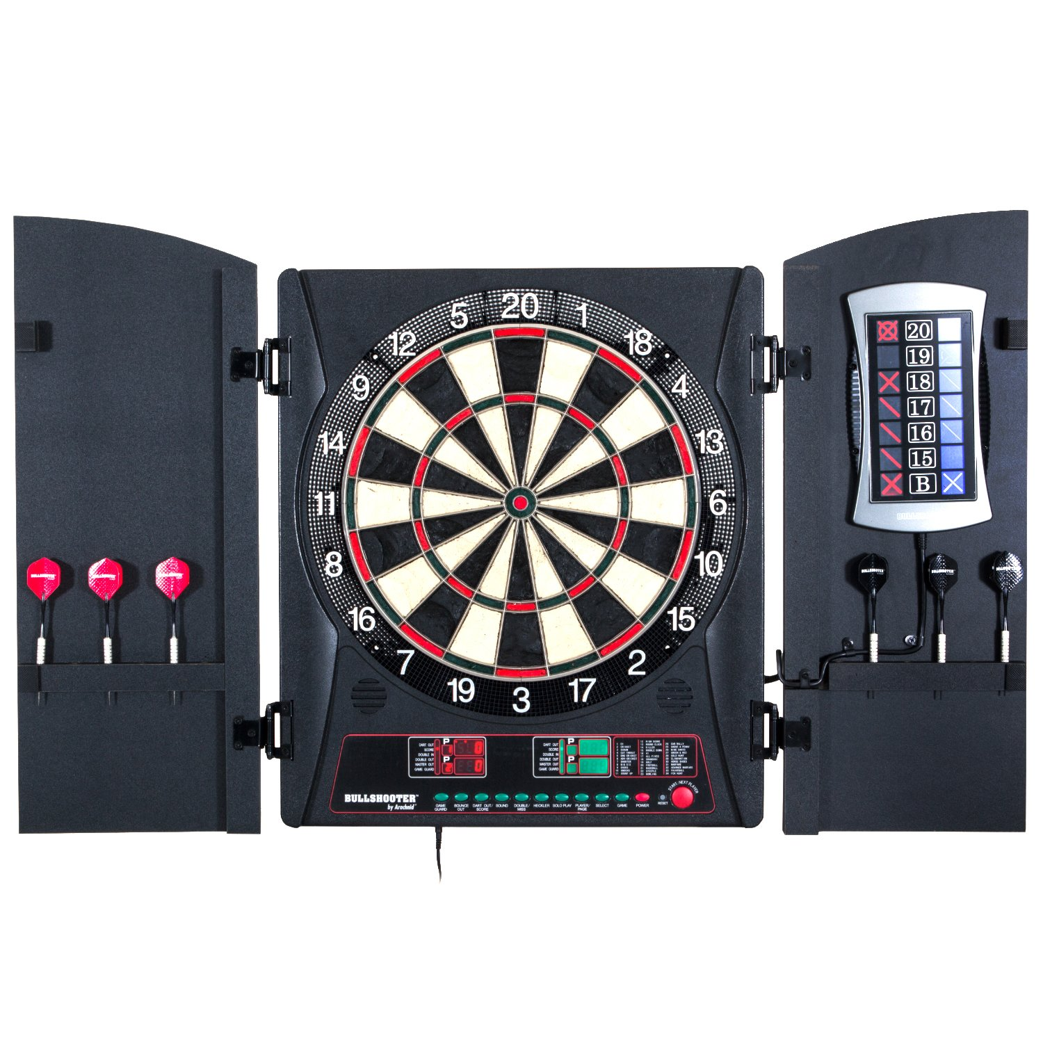Bullshooter by Arachnid E-Bristle Cricketmaxx 3.0 Dartboard Cabinet Set
