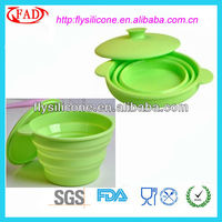 silicone collapsible soup and salad bowl With Silicone Lid FDA&LFGB Approval