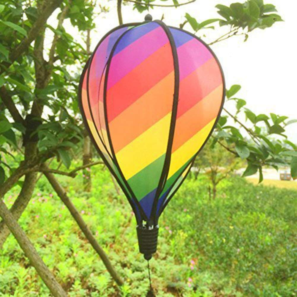 XJG Rainbow Stripe Windsock Hot Air Balloon Wind Spinner Garden Yard Outdoor Decor KYR multi-color rainbow