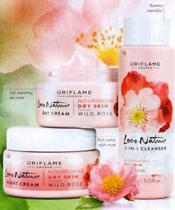 Oriflame Love Nature Wild Rose Set of 3 (Day cream+Night cream+2-in-1 cleanser)