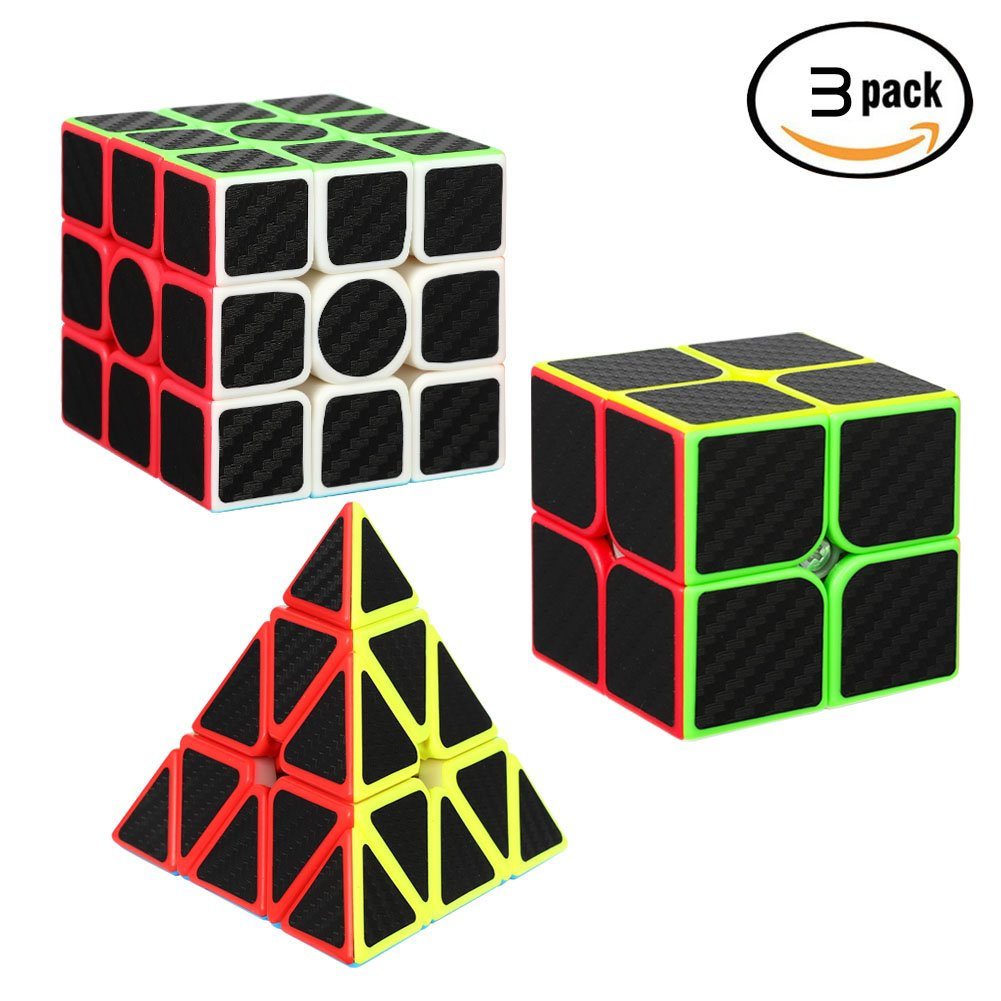 Twister.CK Carbon Fiber Speed Cube Bundle 2x2 3x3 Pyramid[3 Pack],Magic Cube Puzzle Toys,Fluctuation Angle Puzzle Cube.The Color and New Style Will Never Fade Away.