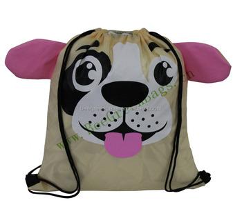 custom logo promotional cute dog design drawstring backpack bags for