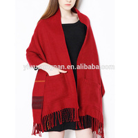 latest new design acrylic knitted scarf shawl with pocket