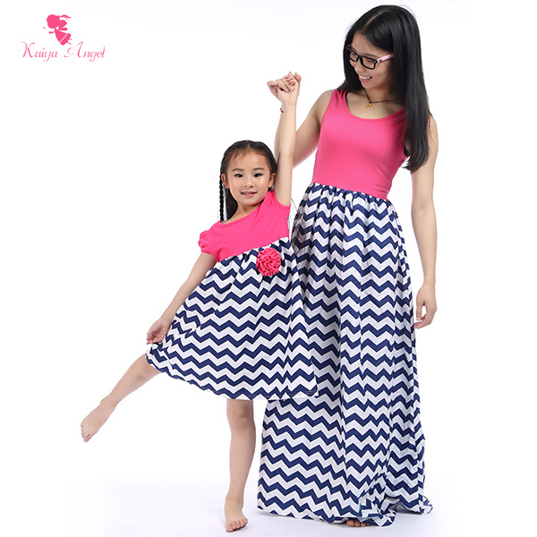 Hot Mother Daughter Dresses 2015 Summer Girls Dress New Family Fashion Clothing Cotton Mom And Daughter Dress Kids Clothes