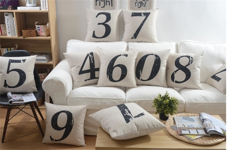 Cute Words Square 100% Polyester Custom Extra Large Linen Cushion Covers