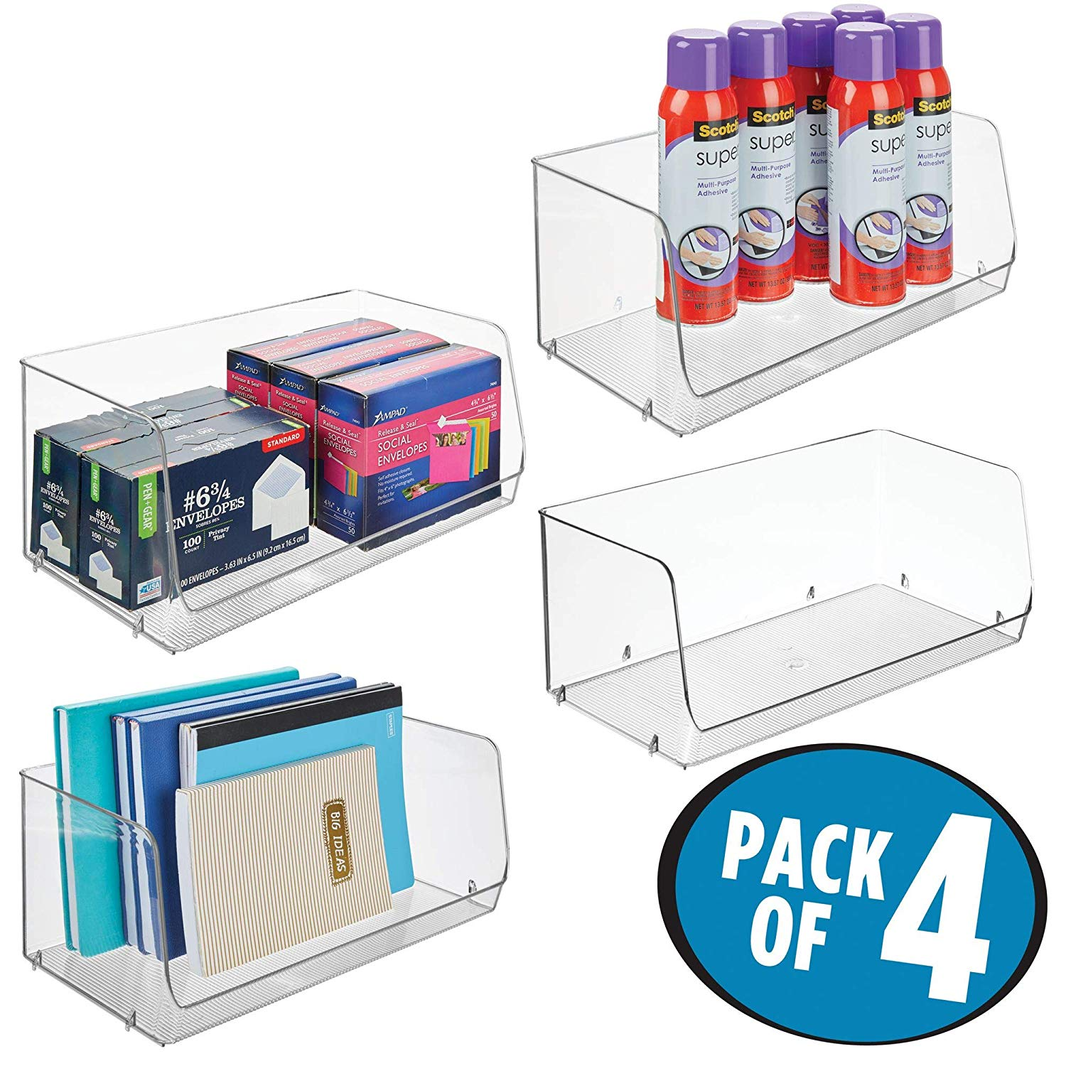 """mDesign Stackable Plastic Storage Organizer Bin Basket for Desk, Book Shelf, Filing Cabinet - Container for Office Supplies, Sticky Notes, Pens, Pencils, 15"""" Wide, 4 Pack, Clear"""