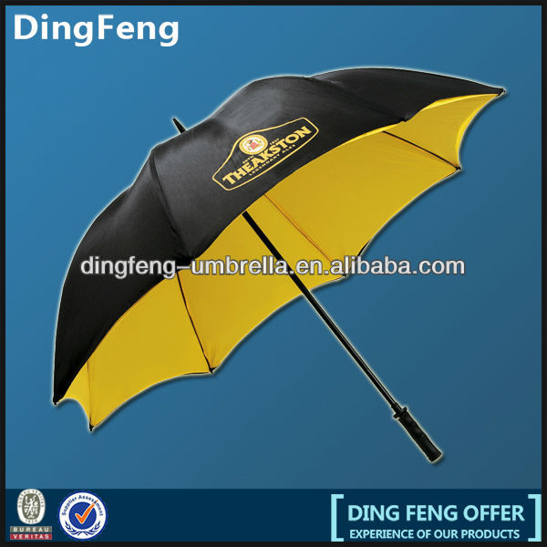 manual open double layer golf umbrella with fibreglass skeleton