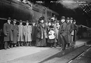 Travelers at train station starting for Florida, New York Vintage Black & Whi c8
