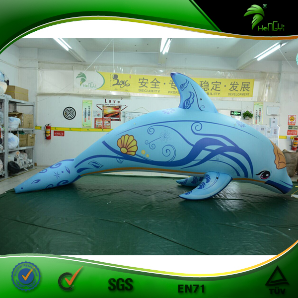 Bule Dolphin Inflatable Costume Sea Animal Figures Toy Hanging Inflatable Cartoon Fish Shape Costume