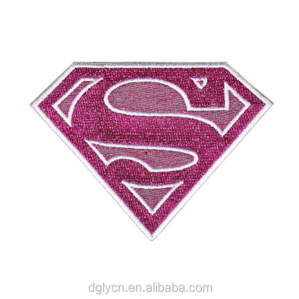 High quality heat press super hero metallic thread embroidered patch