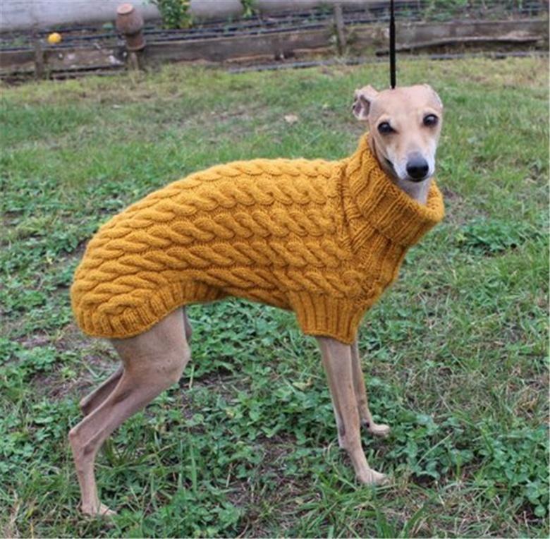 YLM Heißer verkauf Großhandel Custom Hand Gestrickte kabel mantel für greyhound häkeln Pullover