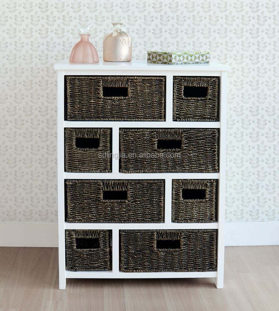 White Wood Wicker Storage Basket Drawer Cabinet Furniture