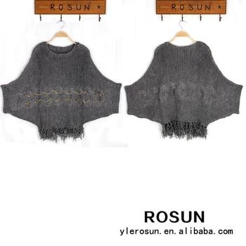 Unique Design New Women Loose Knitting Pattern Bat Sleeve Poncho