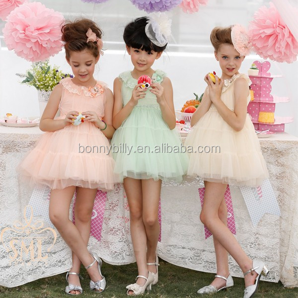 Hot! 3-10 Year-old Pink,Cream,Green Pretty Princess Dress Girls ...