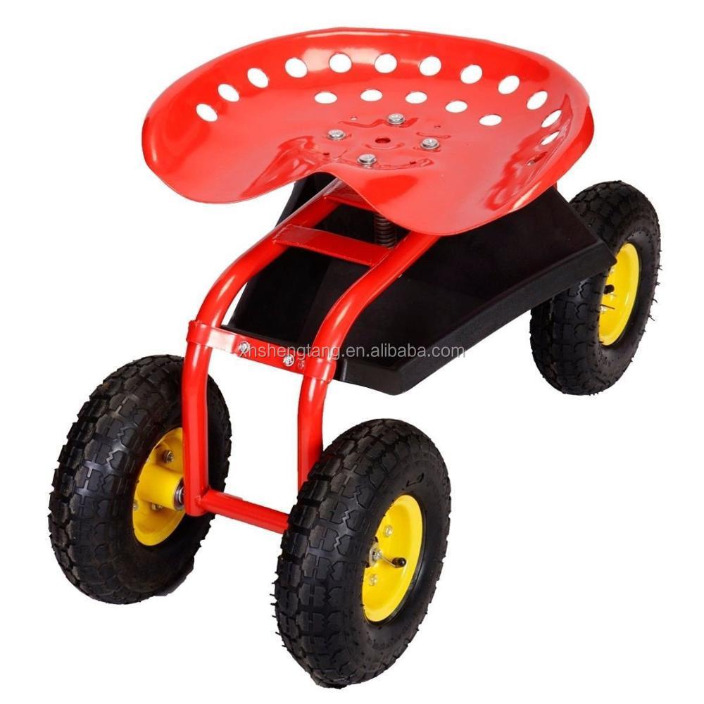 Rolling Garden Tractor Scoot Work Seat Four Wheels With Bucket Basket