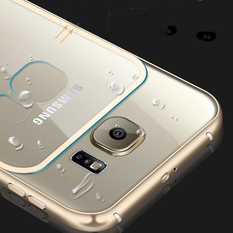 the best attitude f0046 877eb S6& S6 Edge! Metal Aluminum +Clear Acrylic Back Case For Samsung Galaxy S6  G9200/ Edge Luxury Hybrid Hard Armor Protective Cover