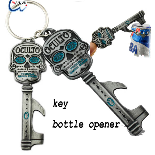 Funny keychain bottle opener,aluminum alloy KEY shape bottle opener key rings