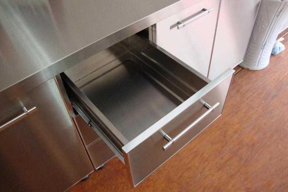 Custom stainless steel modular kitchen cabinets buy for Custom stainless steel cabinet doors