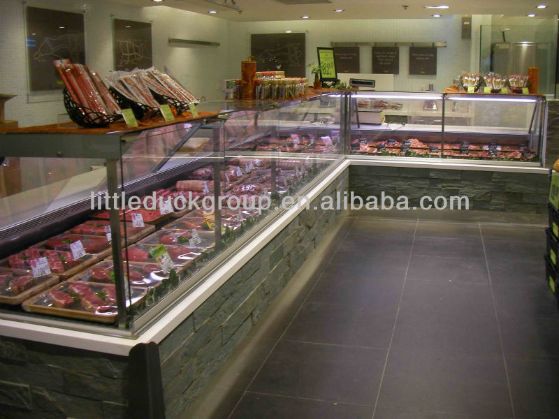 refrigerated bar service counter with glass cover