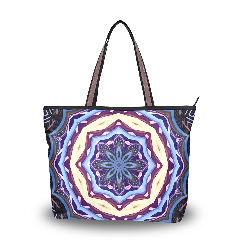 WIHVE Women's Shoulder Bag Satchel Handbags Mandala Travel Tote Purse