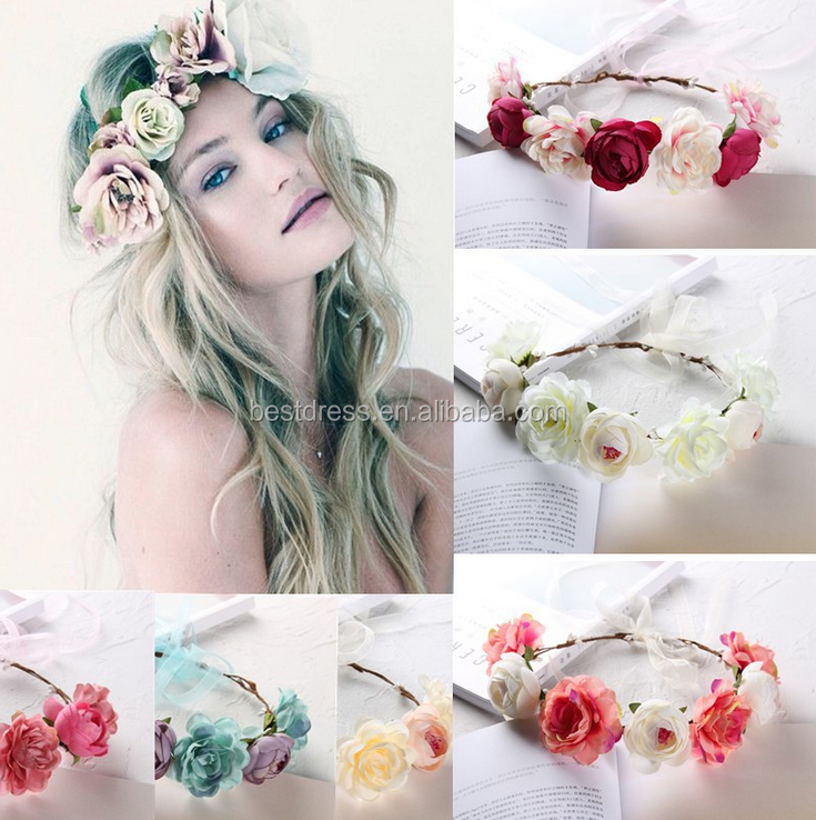 Flower Wreath headband Floral Garland <strong>Crown</strong> Hair Accessories for Wedding Anniversary Party 6 Colors