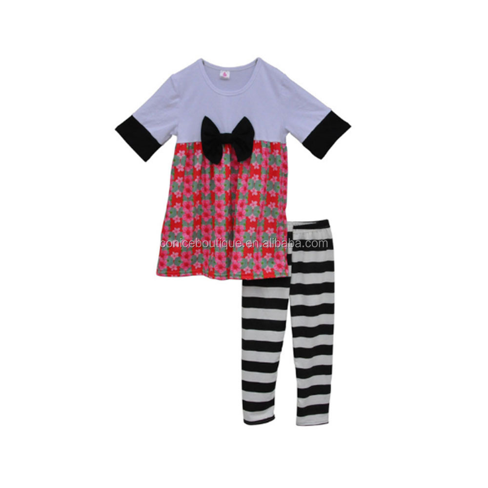2017 New Fashion Winter Baby Girls Cotton Clothes Short Sleeves Floral Dress With Stripe Legging Children Clothing Sets
