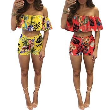 b79cf58fb36d8 B40471A nueva moda conjuntos de ropa de dama blusa top y pantalones cortos