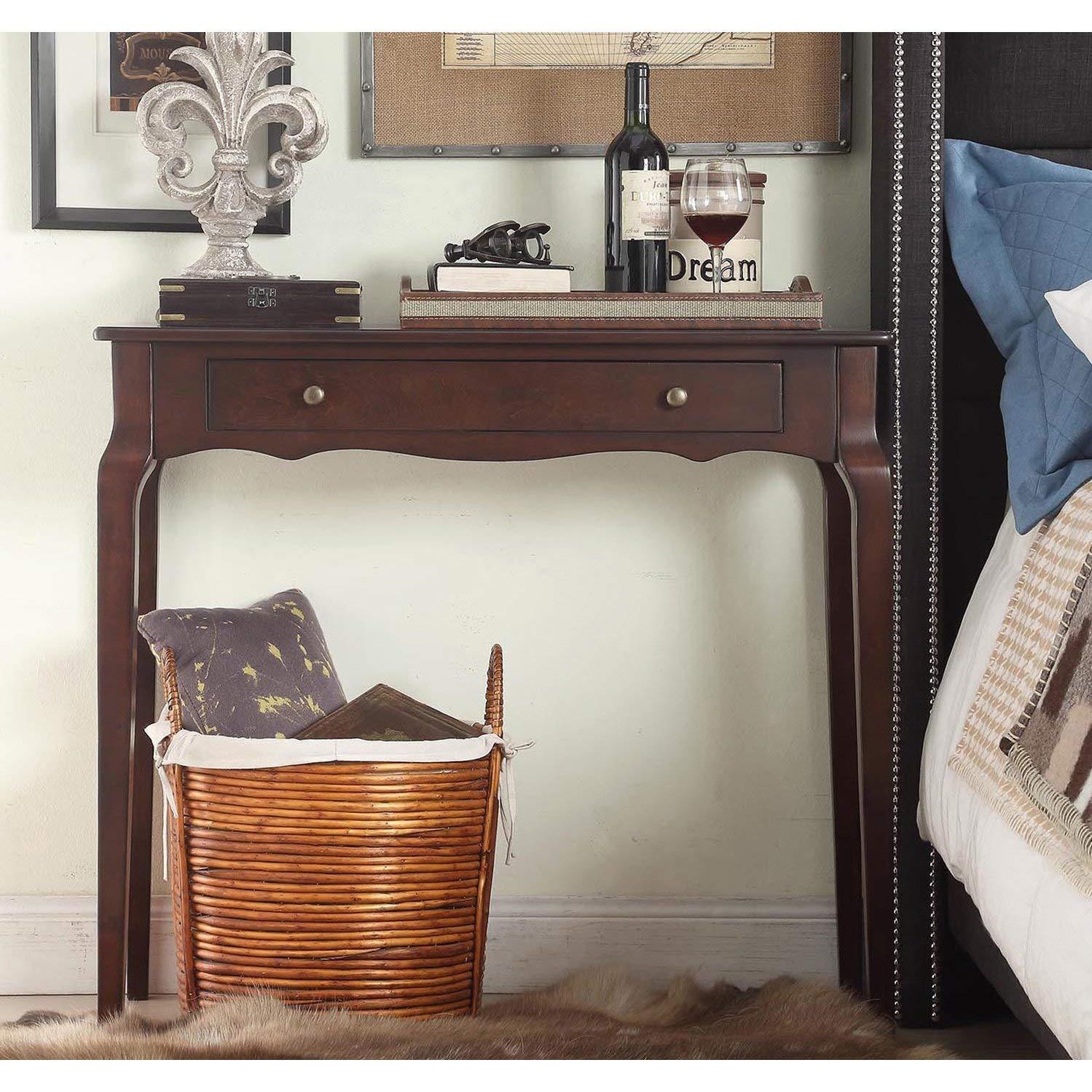 Casual Daniella 1-Drawer Wood Accent Console Sofa Table Beautiful Scalloped Apron and Curved Shape Wood Finish (Espresso)