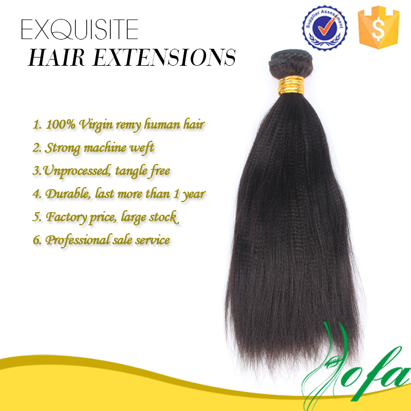 Guangzhou Wholesale Factory Price Tangle Free No Shedding Indian 100% Yaki Human Hair Extension