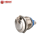 19mm dome head shape metal antivandal push button momentary switch