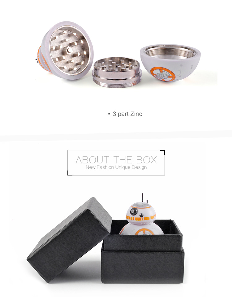 2018 Onuoss New BB-8 metal roller herb grinder with fast shipment