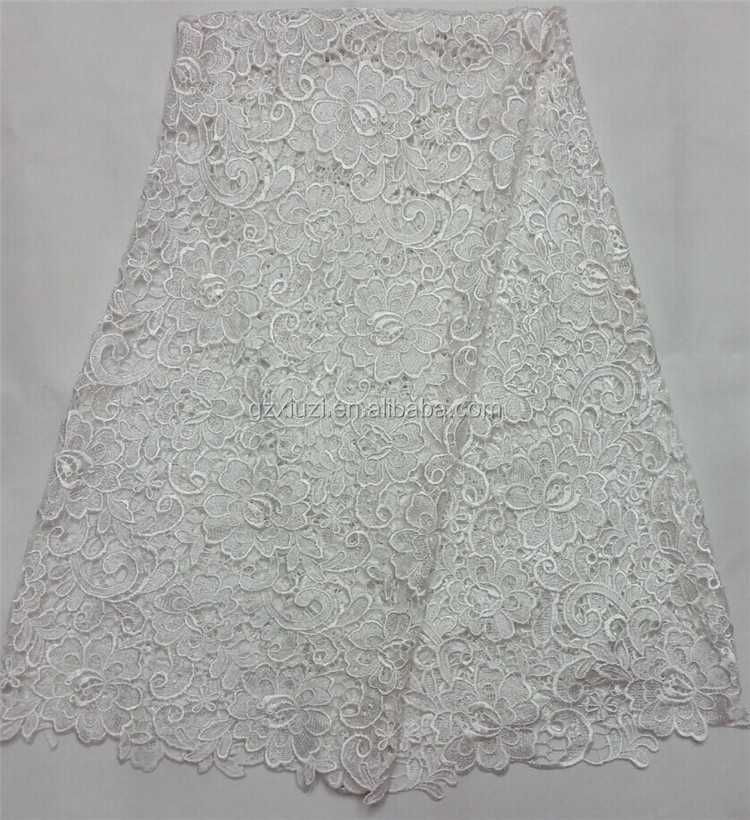 New Fashionable 2016 Wholesale White Weddng Dresses Flower Embroidered Cotton Guipure Lace Fabric/African Cord Lace Fabric