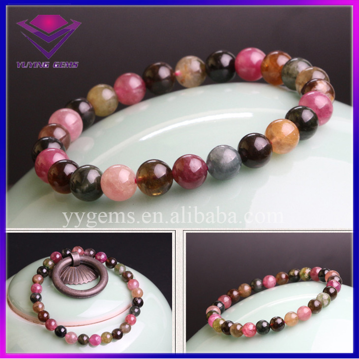 Brazil 8MM Natural Mixed Color Tourmaline Stone Beads Lady Bracelet