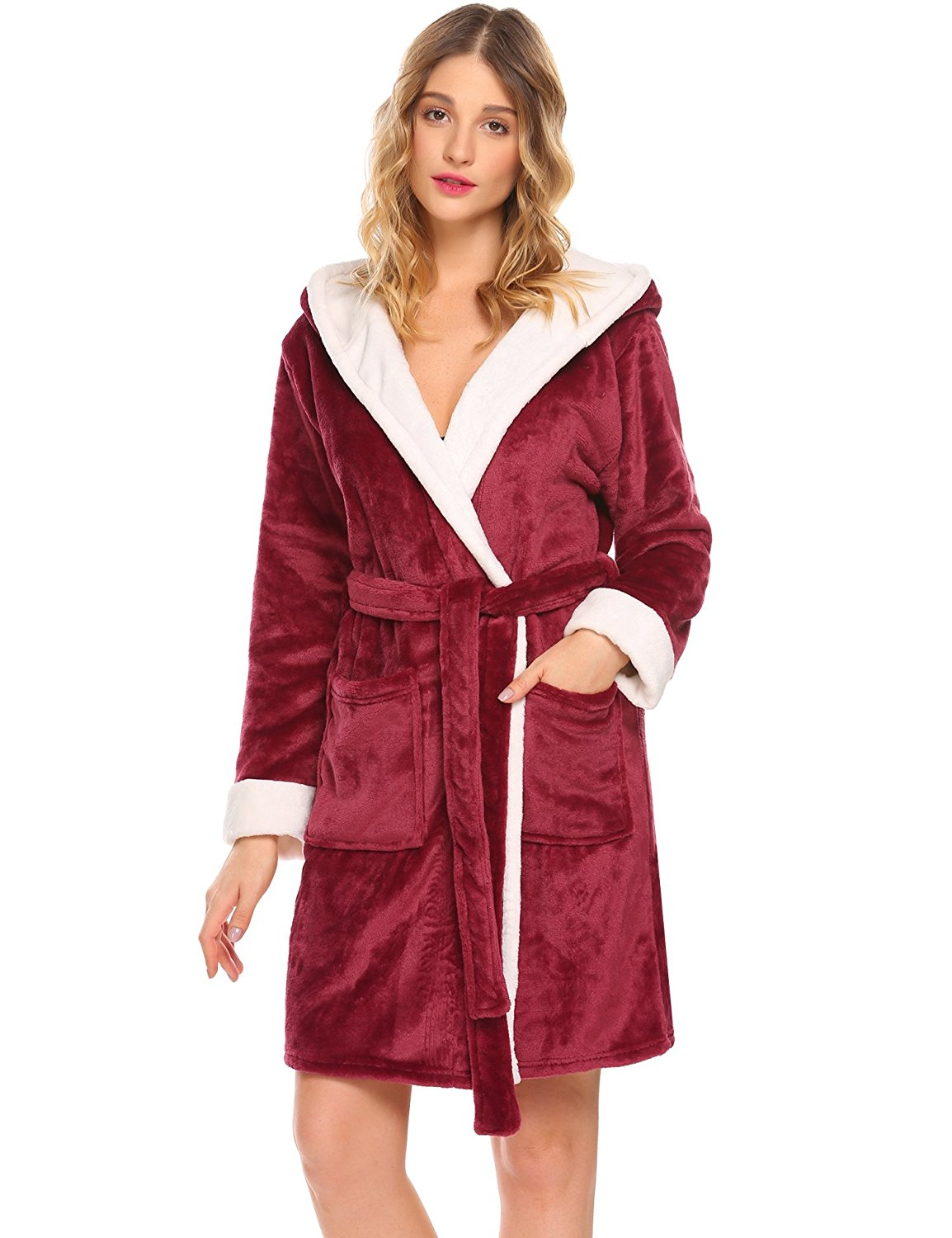 Get Quotations · Donkap Womens Hooded Fleece Robe f586e0c9c