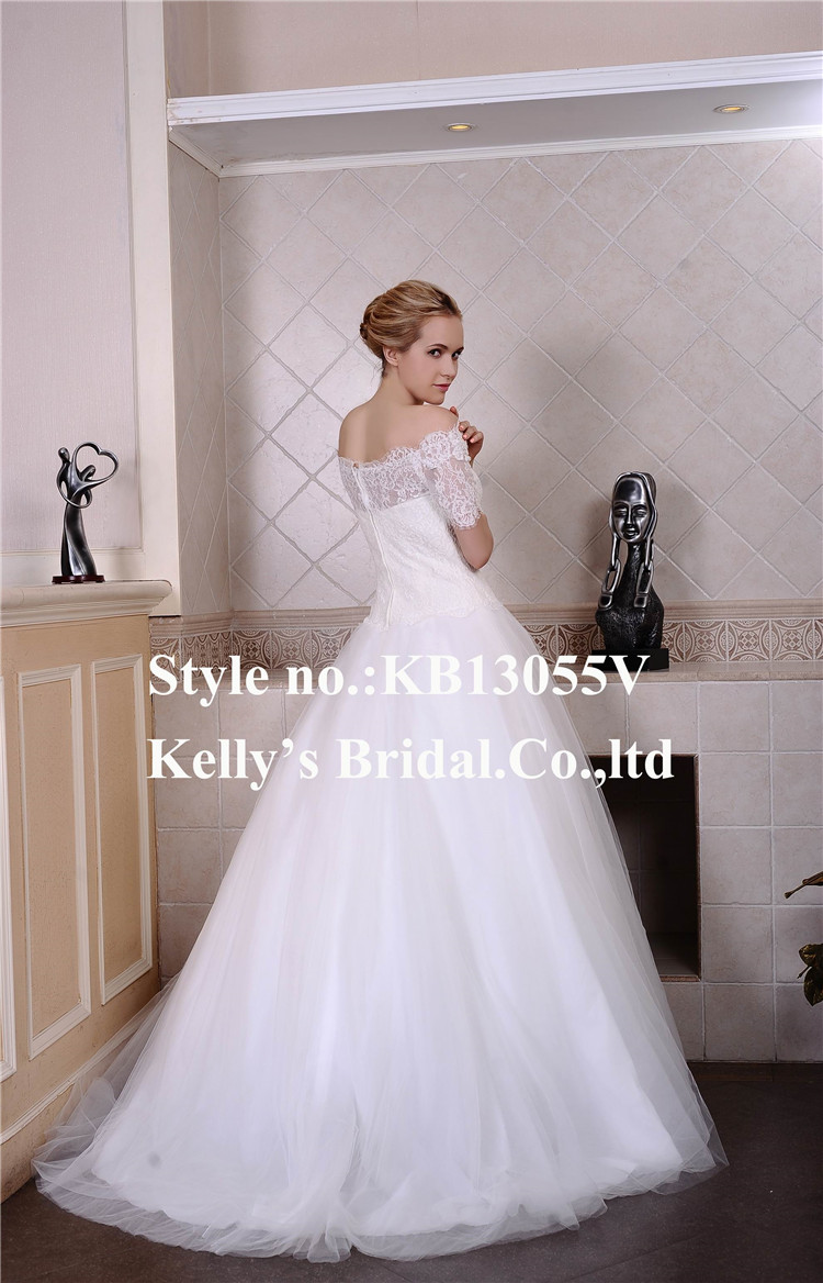 Factory Outlet Dresses Off Shoulder With Short Sleeves Lace With Tulle Ball Gown Wedding Dresses