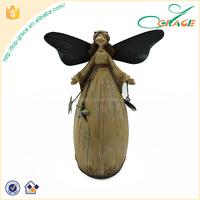 Home garden desktop polyresin decoration standing christmas angel