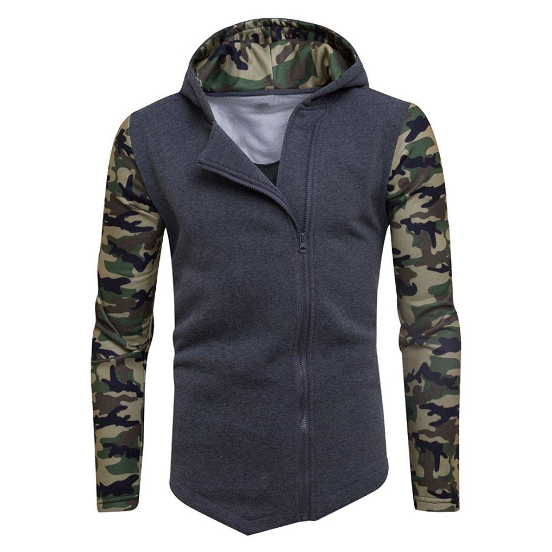 GREFER Clearance! Mens' Winter Camouflage Zipper Hoodie Hooded Sweatshirt Coat Jacket Outwear