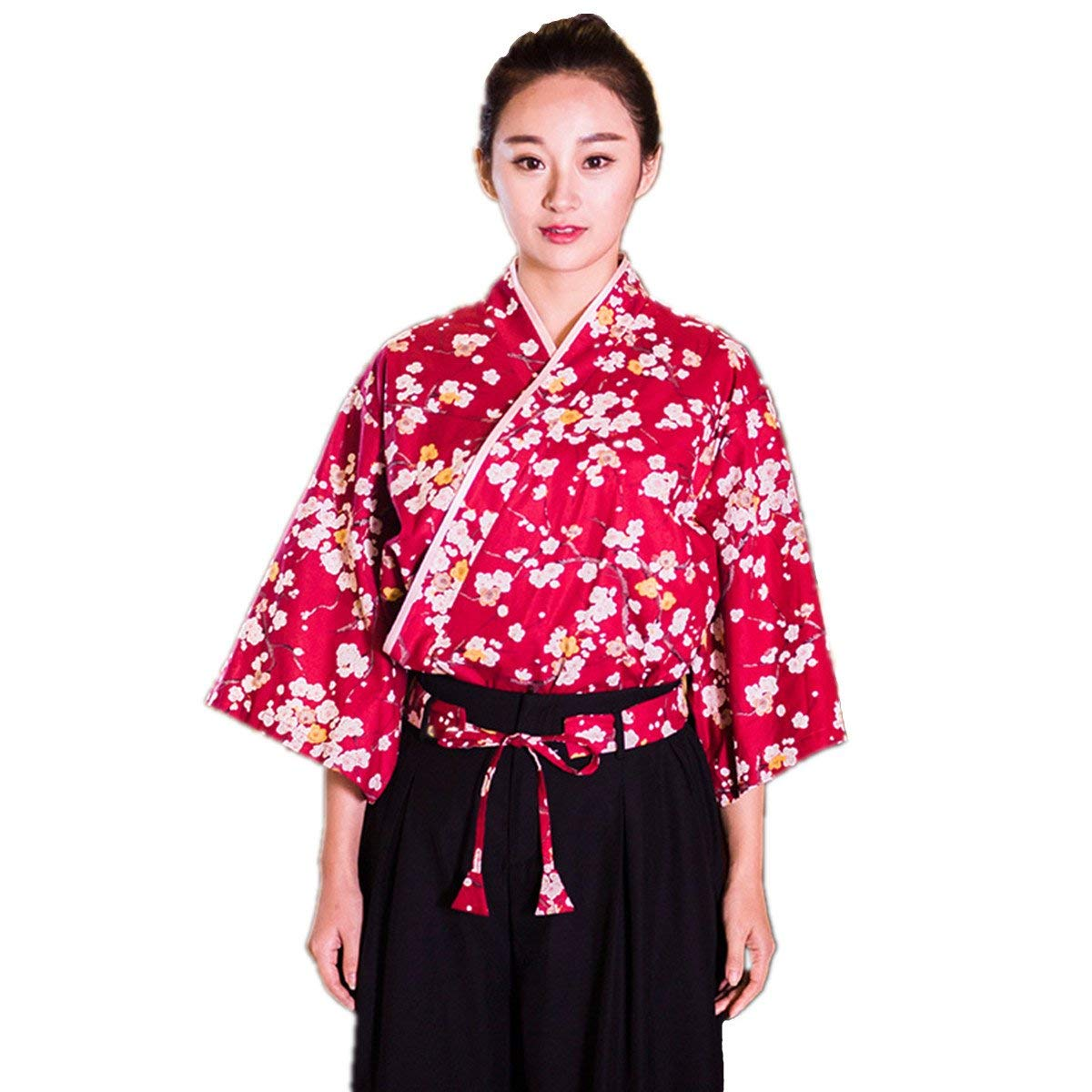XINFU Sushi Waitress Uniform Red Plum Blossom 3/4 Long Sleeve Restaurant Japanese Kimono Kitchen Work Coat