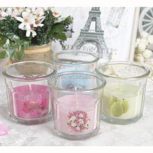 Customized Romantic Small Glass Cup Soy wax Scented Candle