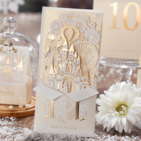 luxury floral customized wedding invitations, paper cut greeting cards