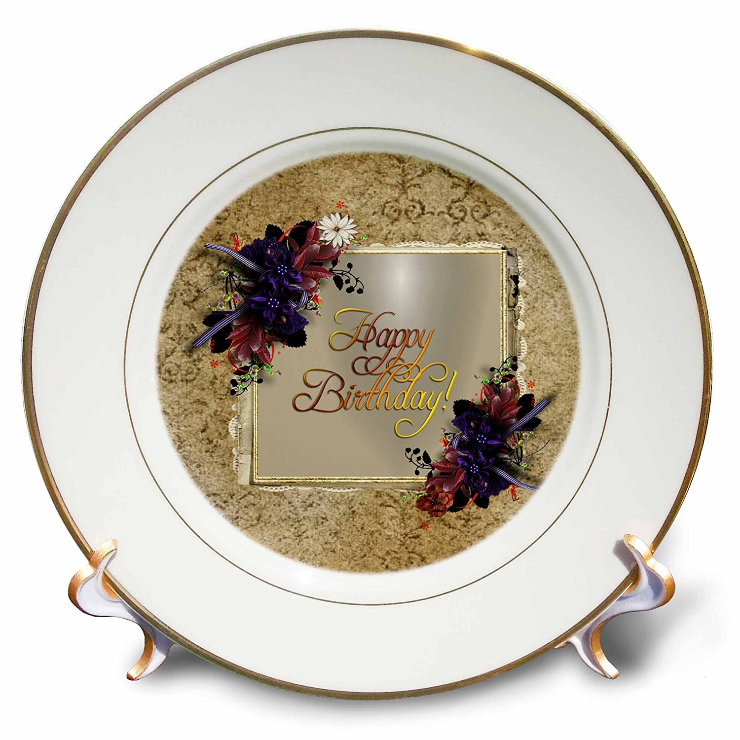 Beverly Turner Birthday Design - Purple Flowers on Gold Frame with Damask Design, Happy Birthday - 8 inch Porcelain Plate (cp_233490_1)